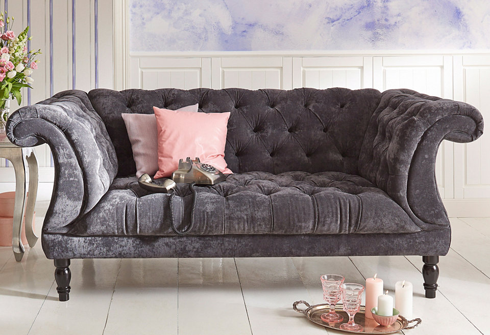 max winzer chesterfield 2 sitzer sofa isabelle mit edler knopfheftung breite 200 cm. Black Bedroom Furniture Sets. Home Design Ideas