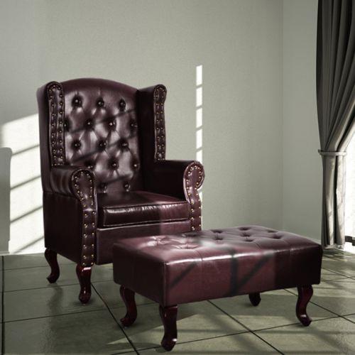 vidaXL Chesterfield Ohrensessel Hocker Kamin Ohrenbacken Lounge Büro Couch Sofa