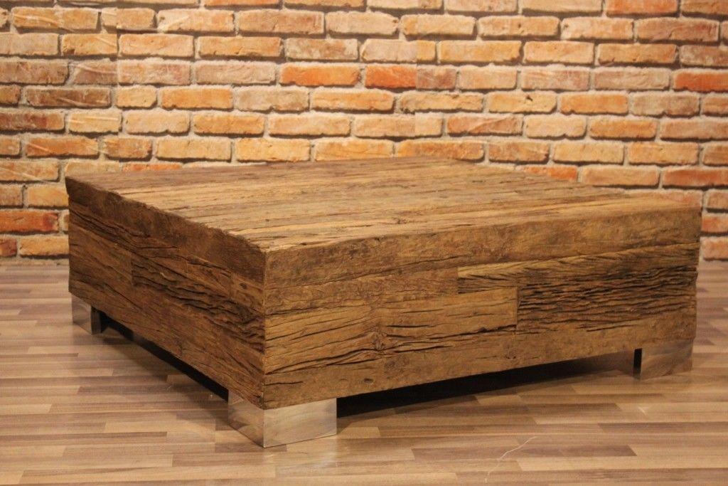 Couchtisch DIX, edles Sal-Hartholz 110x110 cm Bahnbohlen quadratisch Massivholz