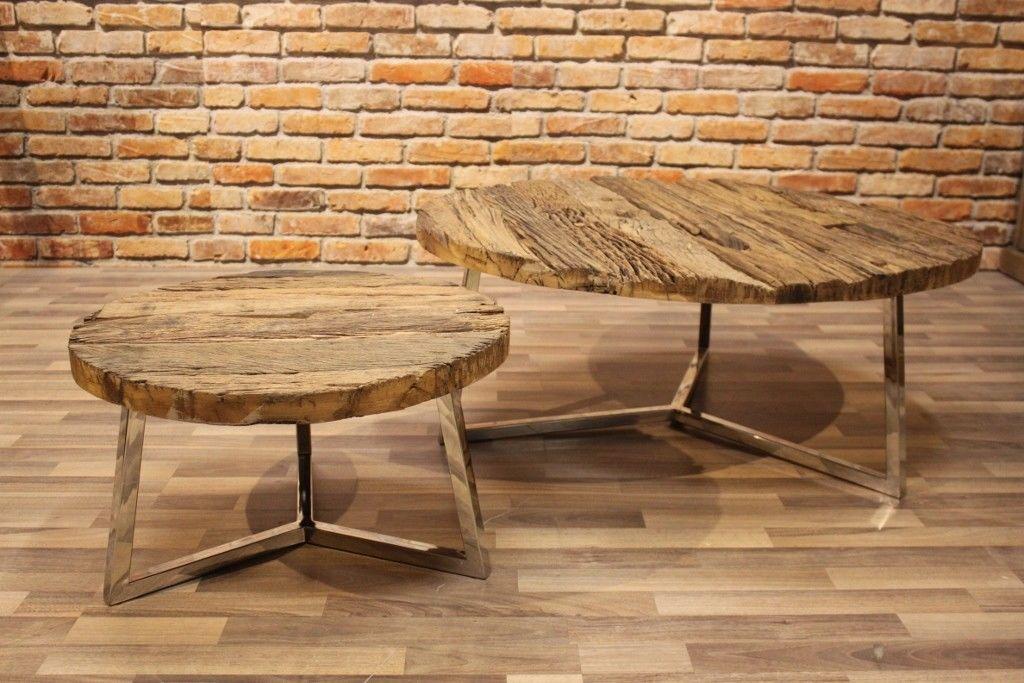 Couchtisch NEVA 2er-Set Beistelltisch Massivholz rustikal recyceltes Salholz