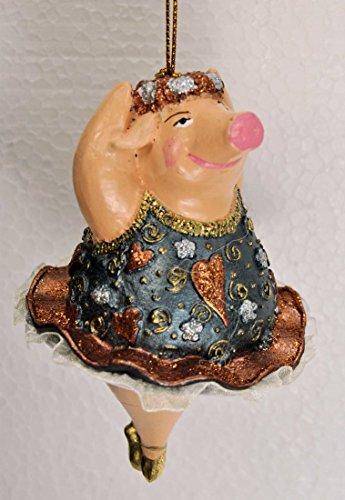 """Crazy Christmas, Ballerina Hänger """"Schwein"""", Deko Hänger, blau, kupfer 11 cm - 1"""