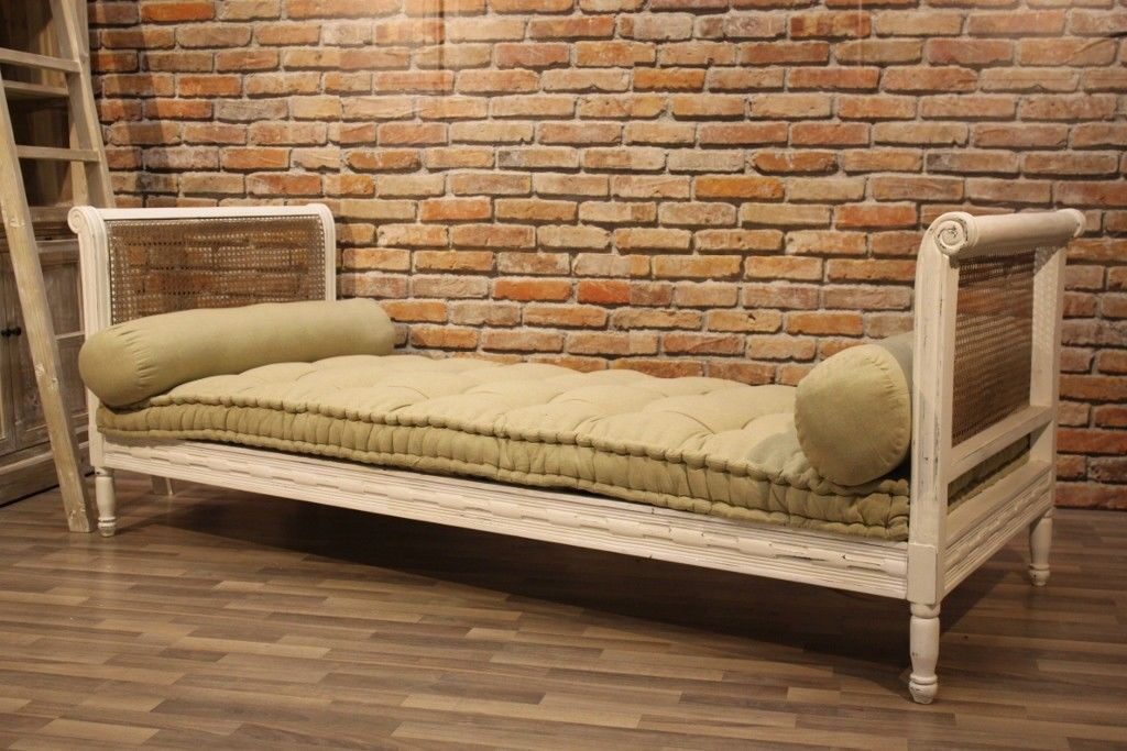 Recamiere HAM Daybed weiss Shabby Stil massiv edles Mangoholz Schnitzerei Lounge