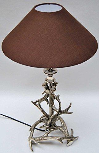 Sehr dekorative Tischleuchte mit Schirm, Fuß Aluminium, Geweih, Höhe 59 cm - 2