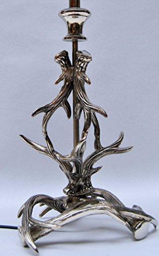 Sehr dekorative Tischleuchte mit Schirm, Fuß Aluminium, Geweih, Höhe 59 cm - 3