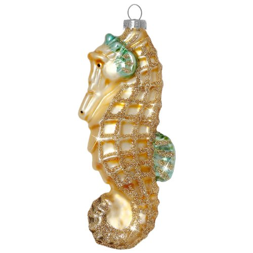SIKORA Christbaumschmuck Glas Ornament / SEEPFERDCHEN - H:11cm - 1