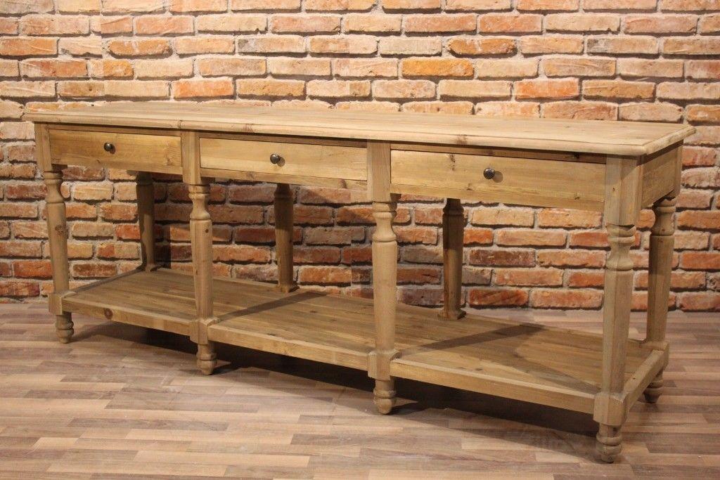 XXL Konsole SIM, Massivholz Konsolentisch Sideboard 200cm Landhausstil rustikal