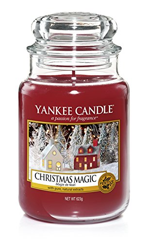 Yankee Candle Classic Glaskerze Christmas Magic, rot, 10,7 x 10,7 x 16,8 cm - 1