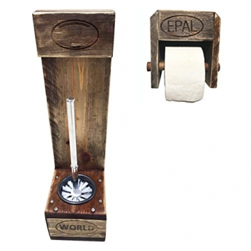 """Palettenmöbel WC-Bürstenhalter/Toilenpapierhalter Set""""Pearl Harbor"""" aus zertifiziertem Europalettenholz, jedes Teil ist Einzigartig und Wird in Deutschland in Handarbeit Gefertigt - 1"""