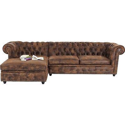 Sofa Couch Eck 3-Sitzer Dreisitzer Vintage Chesterfield L Braun Neu KARE Design