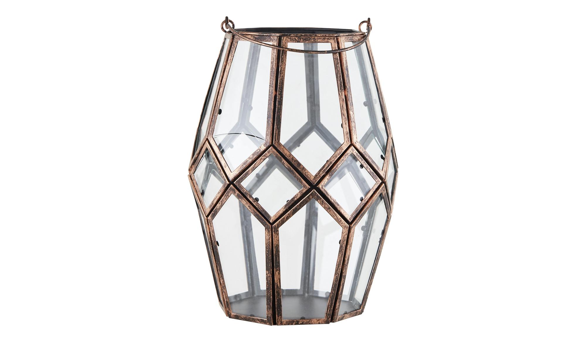 Windlicht ¦ kupfer ¦ Metall, Glas  ¦ Maße (cm): H: 25 Ø: [18.5] Dekoration > Laternen & Windlichter - Höffner