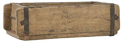 Alte Ziegelform 32x15x9,5 cm - Ein-Kammer - Vintage Holzkiste mit Metallbeschlägen - Echte, benutzte Form aus Indien aus Altholz gefertigt - Jedes Stück ein Unikat - 1