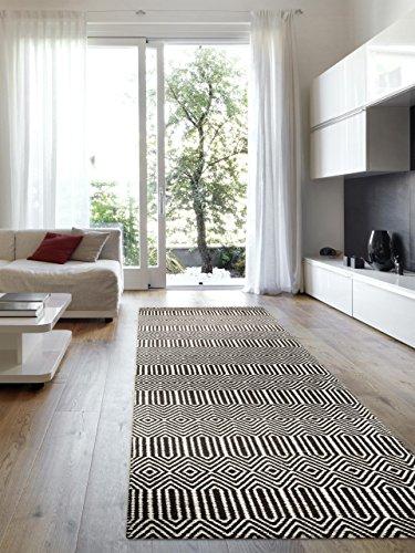 Benuta Teppich Läufer Sloan, Wolle, Baumwolle, Schwarz/Weiß, 80 x 300.0 x 2 cm - 1