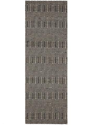 Benuta Teppich Läufer Sloan, Wolle, Baumwolle, Schwarz/Weiß, 80 x 300.0 x 2 cm - 2