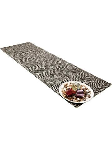Benuta Teppich Läufer Sloan, Wolle, Baumwolle, Schwarz/Weiß, 80 x 300.0 x 2 cm - 3