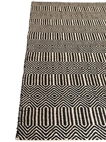 Benuta Teppich Läufer Sloan, Wolle, Baumwolle, Schwarz/Weiß, 80 x 300.0 x 2 cm - 4