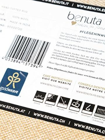 Benuta Teppich Läufer Sloan, Wolle, Baumwolle, Schwarz/Weiß, 80 x 300.0 x 2 cm - 5