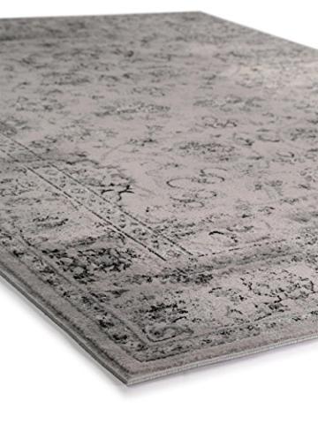benuta Vintage Teppich im Used-Look Velvet Grau 140x200 cm | Moderner Teppich für Schlafzimmer und Wohnzimmer - 4
