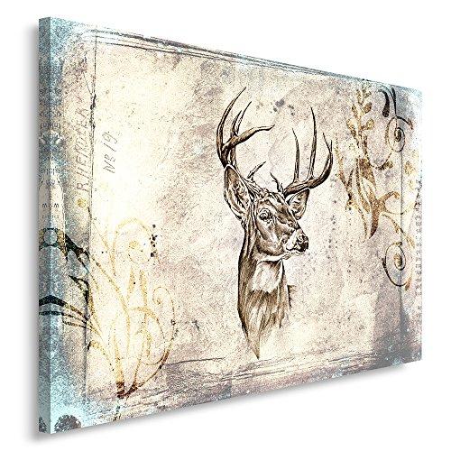 Feeby, Leinwandbild, Bilder, Wand Bild, Wandbilder, Kunstdruck 70x100cm, Hirsch, Muster, Sepia, SKANDINAWISCHER Stil, Vintage - 1