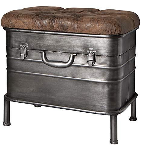 Haku Möbel Bank - Sitztruhe aus Stahl grau lackiert - gepolsterte Sitzfläche Breite 51 cm - 1