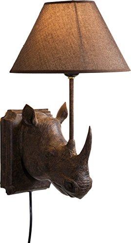 Kare Design Wandleuchte Rhino, rustikale Tierkopf Wanddekoration für den Innenbereich, Kolonialstil, Braun (H/B/T) 39,5x26,5x24,5cm - 1