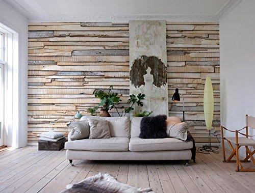 Komar - Fototapete WHITEWASHED WOOD - 368 x 254 cm - Tapete, Wand, Dekoration, Wandbelag, Wandbild, Wanddeko, Holz, Holzwand, Holzoptik - 8-920 - 1