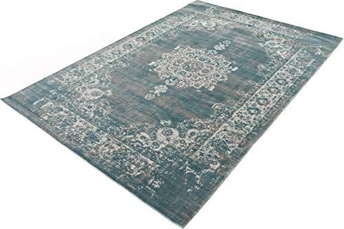 LIFA LIVING 133 x 200 cm Vintage Teppich für Wohnzimmer und Schlafzimmer, Wohnzimmerteppich mit Muster Orientalisch, Blau Grau, aus weicher Wolle - 1