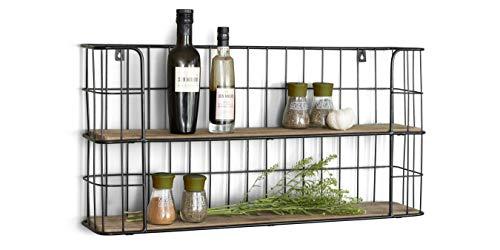 LIFA LIVING Vintage Wandregal aus Holz und Metall Schwarz mit 2 Böden-Holzregal-Natur Stil, Gewürzboard Regal 2 Etagen-Küchenregal oder Gewürzständer, 68 x 35 x 16 cm - 1