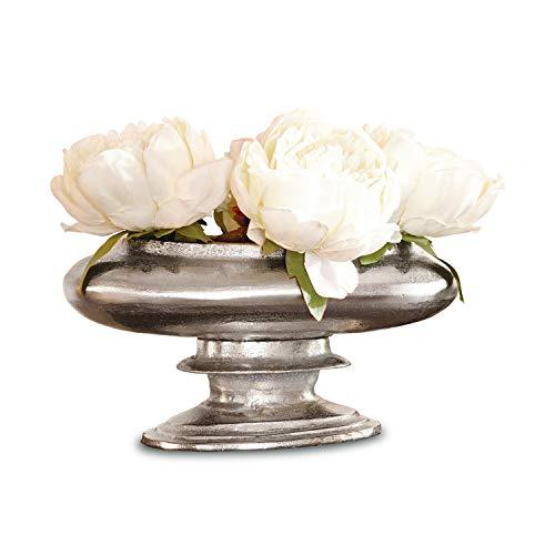 Loberon Vase Loyère, Aluminiumguss, H/B/T ca. 16/31 / 18 cm, antiksilber - 1