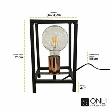 ONLI Tischlampe Stil Urban Floki aus Metall schwarz und Lampenfassung Color Kupfer - 2