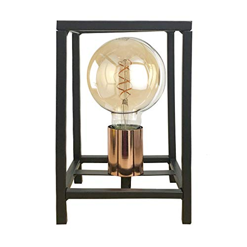 ONLI Tischlampe Stil Urban Floki aus Metall schwarz und Lampenfassung Color Kupfer - 1