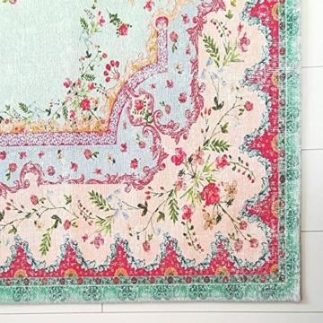 Rozenkelim Vintage Teppich | Shabby Chic Look Teppichläufer für Wohnzimmer, Schlafzimmer und Flur | 70% Polypropylen, 30% Baumwolle (Pastell, 225cm x 155cm, 8 mm hoch) - 2