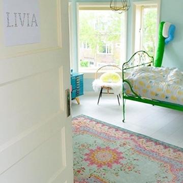 Rozenkelim Vintage Teppich | Shabby Chic Look Teppichläufer für Wohnzimmer, Schlafzimmer und Flur | 70% Polypropylen, 30% Baumwolle (Pastell, 225cm x 155cm, 8 mm hoch) - 3