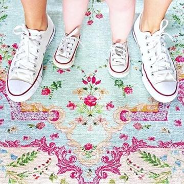 Rozenkelim Vintage Teppich | Shabby Chic Look Teppichläufer für Wohnzimmer, Schlafzimmer und Flur | 70% Polypropylen, 30% Baumwolle (Pastell, 225cm x 155cm, 8 mm hoch) - 5