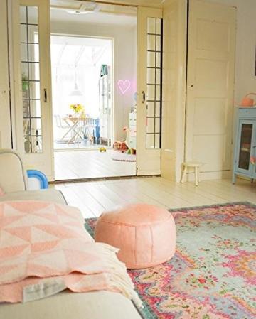 Rozenkelim Vintage Teppich | Shabby Chic Look Teppichläufer für Wohnzimmer, Schlafzimmer und Flur | 70% Polypropylen, 30% Baumwolle (Pastell, 225cm x 155cm, 8 mm hoch) - 9