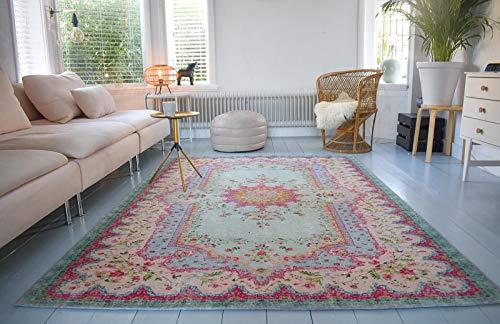 Rozenkelim Vintage Teppich | Shabby Chic Look Teppichläufer für Wohnzimmer, Schlafzimmer und Flur | 70% Polypropylen, 30% Baumwolle (Pastell, 225cm x 155cm, 8 mm hoch) - 1