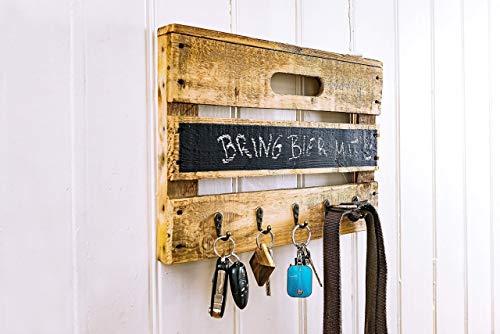 Schlüsselbrett aus Holz einer Obstkiste mit Tafellack für kleine Kreide-Nachrichten, für Schlüsselanhänger, Leinen, Handtücher, Handmade, Unikat, Upcycling - 1