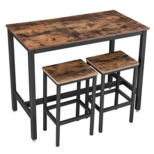 VASAGLE Bartisch-Set, Stehtisch mit 2 Barhockern, Küchentresen mit Barstühlen, Küchentisch und Küchenstühle im Industrie-Design, für Küche, 120 x 60 x 90 cm, Vintage, dunkelbraun LBT15X - 1