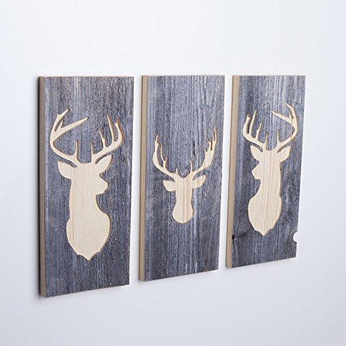 WOODS 3er-Set Wand-Bilder mit Hirsch-Motiv I Wanddekoration aus Holzhandgefertigt in Bayern I echte Hüttenholz-Unikate I moderner Vintage-Look für Wohn- & Schlaf-Zimmer I 3 Stück 35 x 15 x 2 cm - 1