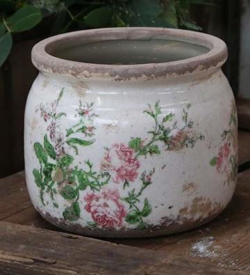 Chic Antique Übertopf Rosen Keramik D12 cm H9,5 cm - 1