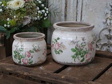 Chic Antique Übertopf Rosen Keramik D12 cm H9,5 cm - 2