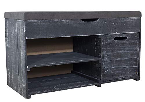 Kontorei 1x Angesagte, Schwarze Sitzbank Shabby, mit Sitzpolster & verschiedenen Stauräumen, schön im Schlafzimmer, neu, 90x39x52cm - 1
