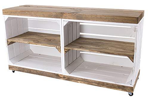 Moooble 1x TV Bank weiß, auf Rollen | braune Deckplatte & Regalböden, aus Holz, 4 Fächer | 100x30x50 cm | moderner TV Schrank, Sideboard - 1