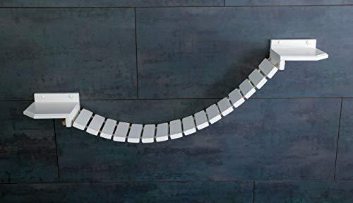 Jennys Tiershop Katzen Wandpark, Handgefertigte Tiermöbel/Luxusmöbel, Katzenmöbel in Vielen Ausführungen, Kratzbaum/Katzenbaum für die Wand. Hier: Hängebrücke 110 x 20 cm weiß (O6) - 1