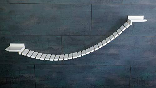 Jennys Tiershop Weiß. Katzen Wandpark, Handgefertigte Tiermöbel/Luxusmöbel, Katzenmöbel in Vielen Ausführungen, Kratzbaum/Hängematte für die Wand. Hier: Hängebrücke 170 x 20 cm weiß (142u4) - 1