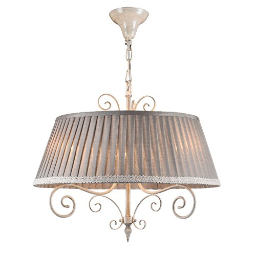 Luftiger Shabby Chic Kronleuchter Hängeleuchte, weißes Metall, weißer Lampenschirm aus Leinen, 3-flammig, exkl. E14 40W, 220-240V - 1