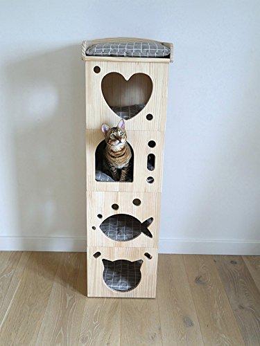 Rosewood 40151 Stylischer Und Moderner Katzenturm Aus Holz Mit Kissen, Aus Filz Und Sisal - 1