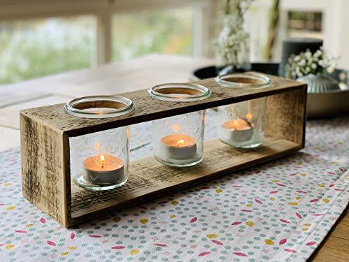 Teelichthalter aus Holz einer Obstkiste mit 3 x Einmachglas   Upcycling Geschenkidee - 1