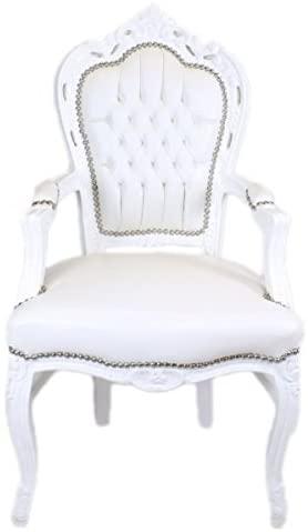 Esszimmerstuhl Weiß/Weiß Lederoptik mit Armlehnen - Barockstuhl