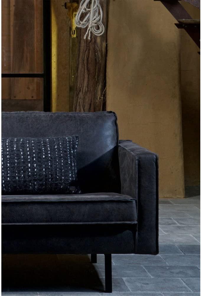 2,5 Sitzer Sofa Rodeo Echtleder Leder Lounge Couch Garnitur Vintage schwarz