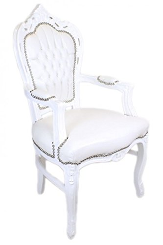Casa Padrino Barock Esszimmerstuhl Weiß/Weiß Lederoptik mit Armlehnen – Barockstuhl – Antik Stil Stuhl -